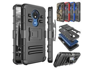 Moto G7 Power Case, Motorola Moto G7 Supra / G7 Optimo Maxx Holster Clip, Tekcoo [Slide] Shock Absorbing Swivel Locking Belt Full Body Defender Kickstand Armor Sturdy Phone Cases Cover - Black