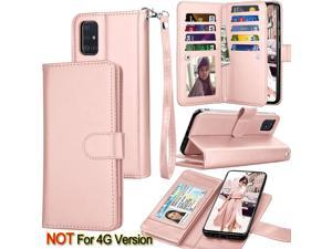 Galaxy A71 Case, [5G Version] Galaxy A71 Wallet Case,Tekcoo ID Cash Credit Card Slots Holder Pouch Folio Flip PU Leather Cover Shell Kickstand Detachable Magnetic Hard Case & Lanyard - Rose Gold