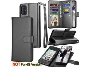 Galaxy A71 Case, [5G Version] Galaxy A71 Wallet Case,Tekcoo ID Cash Credit Card Slots Holder Pouch Folio Flip PU Leather Cover Shell Kickstand Detachable Magnetic Hard Case & Lanyard - Black