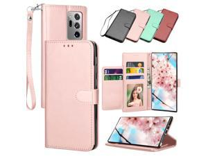 Galaxy Note 20 Ultra Case, Galaxy Note 20 Ultra Wallet Case, Tekcoo Leather Case ID Cash Credit Card Slots Holder Purse Flip Cover Hard Phone Cases Kickstand Magnetic Closure & Strap - Rose Gold