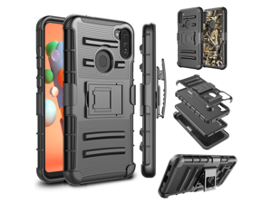 Galaxy A11 Case, Samsung Galaxy A11(6.4 inch) 2020 Holster Clip, Tekcoo [Slide] Shock Absorbing Shell [Black] Swivel Locking Belt Full Body Defender Kickstand Carrying Armor Sturdy Phone Cases Cover