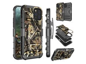 """iPhone 12 Case, 6.1"""" Apple iPhone 12 Pro Holster Clip Cover, Tekcoo [Slide] Shock Absorbing Secure Swivel Locking Belt Defender Kickstand Full Body Protection Carrying Armor Sturdy Hard Cases, Camo"""