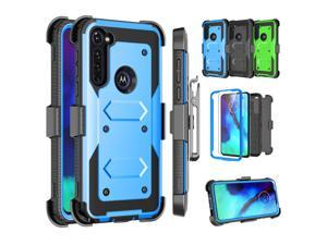 Moto G Power Case Moto G stylus Clip Belt Holster,Tekcoo Shockproof Swivel Defender Armor Protective Cases & 2 Tempered Glass Screen Protector w/ Kickstand Rugged Cover For Moto G Power/G stylus,Blue
