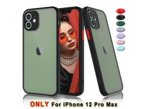 """iPhone 12 Pro Max Case, 6.7"""" Hard Case for iPhone 12 Pro Max Shockproof Cover, Tekcoo Translucent Matte Sturdy Case [Military Grade Drop Tested] Bumper Slim Phone Cases for iPhone 12 Pro Max - Black"""