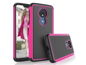 Moto G7 Power Case,Motorola Moto G7 Supra / G7 Optimo Maxx Cute Case, Tekcoo [Tmajor] Shock Absorbing [Rose Pink] Rubber & Plastic Scratch Resistant Bumper Grip Rugged Sturdy Hard Phone Cases Cover