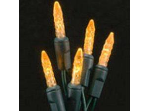70 count Halloween Orange LED Icicle Lights Green Wire