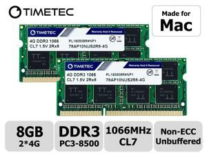 Timetec Hynix IC 8GB Kit (2x4GB) DDR3 1066MHz PC3-8500 Unbuffered Non-ECC 1.5V CL7 2Rx8 Dual Rank 204 Pin SODIMM Memory RAM Module Upgrade (8GB Kit (2x4GB))