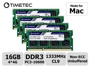 Timetec Hynix IC 16GB KIT(4x4GB) Compatible for Apple Mid 2010/2011 iMac 21.5/27 inch DDR3 1333MHz PC3-10600 CL9 204-Pin SODIMM Upgrade for iMac 11,2 iMac 11,3 iMac 12,1 iMac 12,2