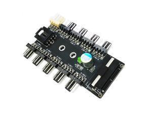 Vibob Chassis Fan Hub CPU Cooling HUB 10 Port 12V 3Pin/4 Pin Fan PWM Fan Hub Controller Power from Molex 4Pin Interface