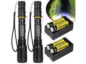 2 Sets 8000 Lumens 5Modes Ultrafire CREE XML T6 LED Flashlight 18650+Charger