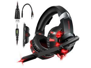 LED Gaming Headset Stereo Surround Sound Noise Canceling Headphone for PS5/iPad