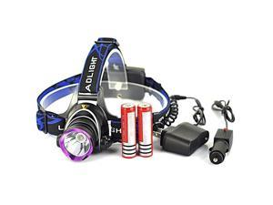 5000LM LED Rechargeable Headlight Head Lamp + 2Pcs 18650 + Charger