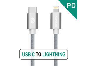 3.2ft USB C PD to Lightning Fast Charging Cable, ZeroLemon USB C Power Delivery to Lightning Sync & Charging Cable for iPhone connect to MacBook and other USB-C Devices - Silver/3.2ft