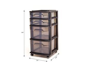 HOMZ 05564BKSMKEC.01 Storage Chest 4 Drawers, Black/Gray