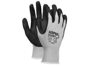 Memphis Economy Foam Nitrile Gloves Large Gray/Black 12 Pairs 9673L
