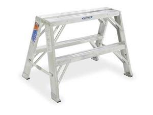 2 Steps, Aluminum Step Stand, 300 lb. Load Capacity, Gray WERNER TW372-30