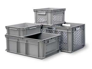 SSI SCHAEFER EF4123.GY1 Grated Wall Stacking Container, 16 x 12 x 5, Gray