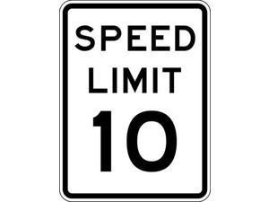 LYLE R2-1-10-18HA Traffic Sign,24 x 18In,BK/WHT,SP LIM 10