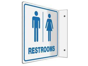 Restroom Sign,8 x 8In,BL/WHT,PS,ENG,Text ACCUFORM PSP741