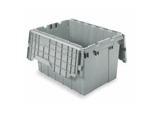 """AKRO-MILS 391204W024 1.62 cu ft. 15""""W x 21-1/2""""H Gray Attached Lid Container"""
