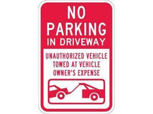 LYLE T1-1068-EG_12x18 Driveway No Parking Sign, 12 in W, 18 in H, English,