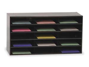 DURHAM MFG 434-08 Literature Rack,Compartment 15,Blk