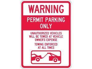 """LYLE T1-1065-HI_18x24 Permit Parking Sign, 18"""" W, 24"""" H, English, Aluminum,"""