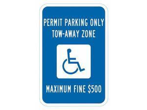 """LYLE T1-6250-HI_12x18 Handicap Parking Sign, 12"""" W, 18"""" H, English, Aluminum,"""