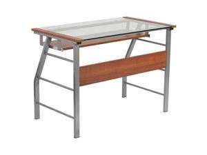 Glass Computer Desk with Pull-Out Keyboard Tray and Bowed Front Frame