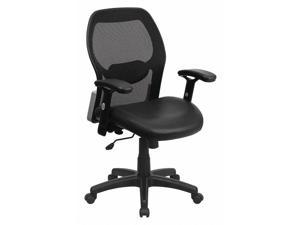 Mid-Back Black Super Mesh Executive Swivel Chair with Leather Seat and Adjustable Arms, black bonded leather