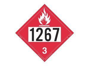 labelmaster zrv21267 un1267 flammable liquid hazmat placard, rigid vinyl pack of 25