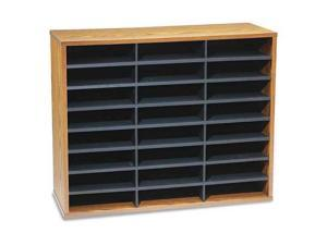 Fellowes 25043 Fiberboard Literature Sorter, 24 Sections, 29 x 11 7/8 x 23 3/4, Medium Oak