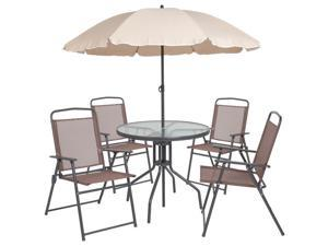 Nantucket 6 Piece Brown Patio Garden Set with Table, Tan Umbrella and 4 Folding Chairs