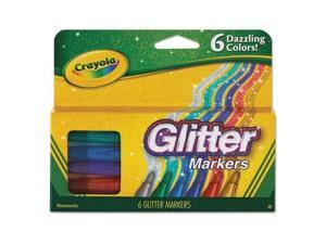 Glitter Markers, Medium Bullet Tip, Assorted Colors, 6/Set 58-8629