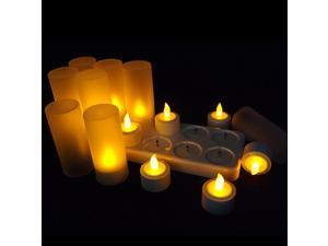 12 LED Electronic Candle Lamps Night Rechargeable Flameless Tea Light Candle For Xmas Party