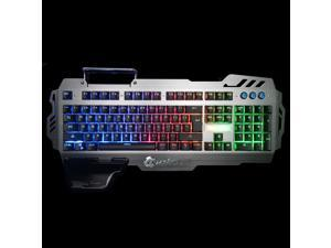 PK-900 Professional Gaming Keyboard 3 LED Backlit Modes with Phone Holder Mechanical FEEL 104 Keys Waterproof for PC Laptop