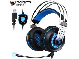 Sades A7 Stereo 7.1 Surround Sound USB Wired Computer Gaming Headset Headphones with Microphone