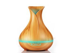 300ml Aroma Essential Oil Diffuser Ultrasonic Air Humidifier with Wood Grain 7Color Changing LED Lights Electric Aroma