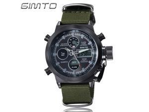 GIMTO Sports Men Watch Leather Nylon Quartz Shock LED Digital Watch Army Military Waterproof Male Watch