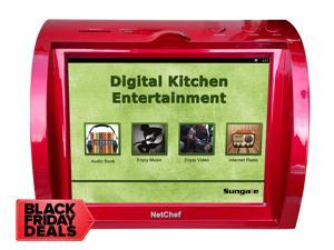 """Kitchen Entertainment, Counter-top Design, Hi-Fi Speakers, Audio Book, 15K+ Radio Stations, Streaming Videos, Movies, Music, Auto Wi-Fi, Plug & Play, Social Media, Recipes, 8""""Touch Panel, NC820-RED"""
