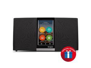 Wi-Fi, Internet, IP Radio & Music Player, touchscreen operating, streaming music, internet radio, audio book, 2x3W Stereo Speakers + 5W Subwoofer, Up to 18K radio stations over the world.