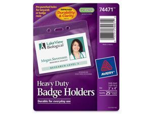Avery 74471 Photo ID Badge Holder, Horizontal, 4w x 3h, Clear, 25-Pack