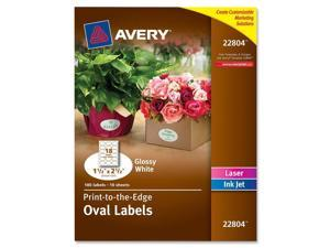 Avery 22804 Oval Easy Peel Labels, 1.5 x 2.5, Glossy White 180-Pack