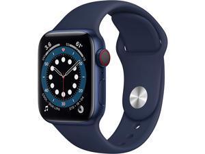 Apple Watch Series 6 40mm Blue Aluminum Case with Deep Navy Sport Band GPS + Cellular M02R3LL/A