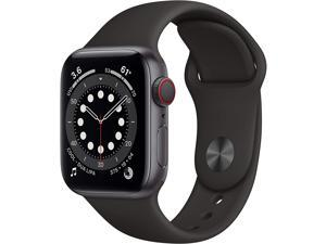 Apple Watch Series 6 40mm Space Gray Aluminum Case with Black Sport Band GPS + Cellular M02Q3LL/A