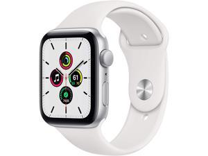 Apple Watch SE 44mm Silver Aluminum Case with White Sport Band GPS MYDQ2LL/A