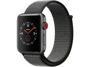 Apple Watch Series 3 42mm Space Gray Aluminum Case Dark Olive Sport Loop GPS + Cellular