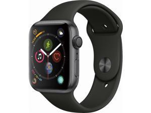 Apple Watch Series 4 44mm Space Gray Aluminum Case Black Sport Band GPS MU6D2LL/A