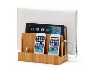 G.U.S. Multi-Device Charging Station Dock & Organizer - Desktop/Counter Model. For Laptops, Tablets, and Phones - Strong Build, Eco-Friendly Bamboo