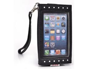 Kroo Black and White Clutch Purse with See Thru Screen for Apple iPhone 5 5s 5C